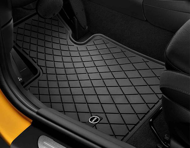 Floor mats in a car.